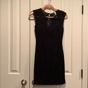Black lace cocktail dress with sweetheart neckline